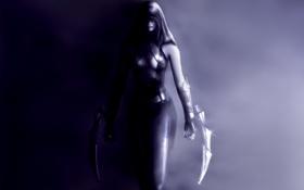 Обои тень, арт, капюшон, девушка, ассасин, assassin, оружие