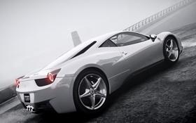 Картинка машина, туман, ч/б, GTA 4, Ferrari Italia.