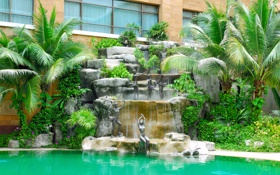 Обои дизайн, дом, стиль, вилла, бассейн, фонтан, архитектура