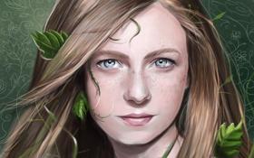Картинка взгляд, листья, девушка, растение, арт, веснушки