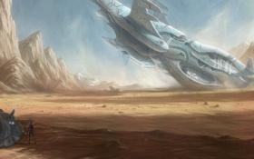 Картинка девушка, скалы, транспорт, пустыня, корабль, арт, кораблекрушение