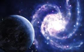 Обои планета, спираль, галактика, звездолеты