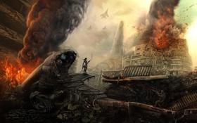 Картинка огонь, солдат, девушка, дым, город, арт, обломки
