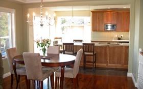 Картинка дизайн, столовая, кухня, вилла, дом, интерьер, стиль