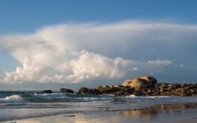 Картинка море, волны, пляж, небо, облака, камни