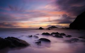 Картинка море, пляж, камни, скалы, рассвет, берег, побережье