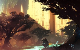 Обои деревья, птицы, река, оружие, замок, магия, водопад