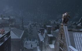 Обои город, коннор, Assassin's Creed III, AC III Connor Rooftop Chase