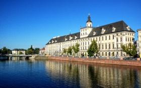 Обои небо, река, Польша, университет, Вроцлав