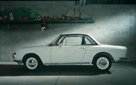 Обои белый, купе, гараж, вид сбоку, классика, 1965, Coupe