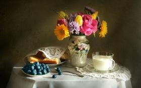Картинка цветы, роза, тюльпан, букет, текстура, молоко, ваза