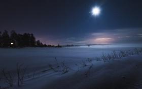 Обои зима, поле, снег, ночь
