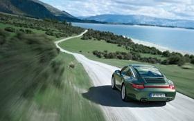 Картинка дорога, пейзаж, горы, природа, озеро, обои, скорость