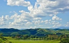 Картинка облака, озеро, холмы, Бразилия, сельская местность, солнечный, Сан-Паулу