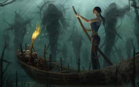 Обои девушка, лодка, свечи, арт, факел, черепа, мрачно