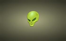 Обои зеленый, минимализм, голова, чужой, инопланетянин, alien