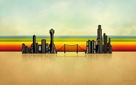 Обои линии, мост, город, здания, jugga lizzle, illustrious boom town