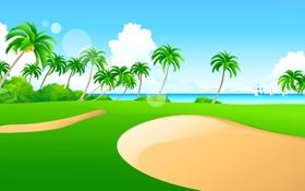 Обои море, небо, трава, пальмы, лодка, вектор, парус