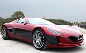 Обои концепт, суперкар, передок, Concept One, Rimac, электрокар