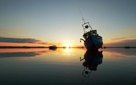 Обои закат, озеро, корабли