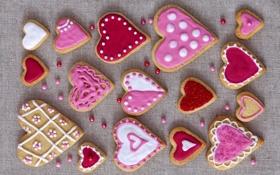 Обои праздник, печенье, сердечки, love, pink, выпечка, hearts