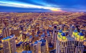 Картинка город, здания, небоскребы, вечер, Чикаго, панорама, USA