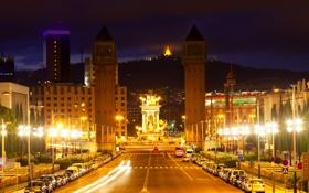Обои дорога, ночь, огни, проспект, фонари, башни, Испания