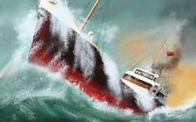 Картинка море, шторм, рисунок, корабль, картина