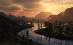 Обои горы, река, деревья, дорога
