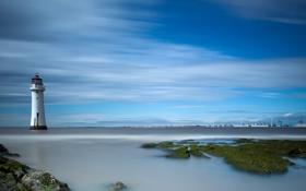 Обои море, пейзаж, маяк, порт