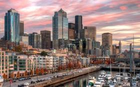 Картинка город, дома, бухта, яхты, Downtown Seattle