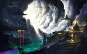 Обои город, река, мультфильм, пони, пещера, солнечные лучи