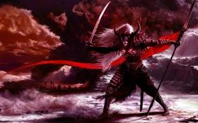 Обои свет, горы, тьма, меч, доспехи, стрелы, Рыцарь