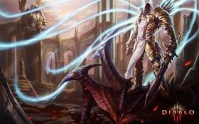 Обои замок, магия, монстр, меч, арт, труп, Diablo 3