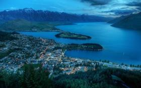 Картинка горы, город, огни, озеро, холмы, вечер, новая зеландия