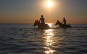 Картинка море, девушки, кони