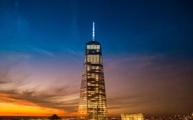 Картинка США, USA, закат, небо, высотки, Всемирный торговый центр, Нью-Йорк