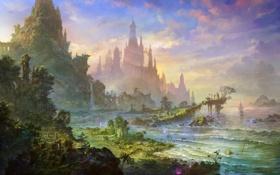 Картинка море, облака, свет, горы, растительность, корабли, Замок