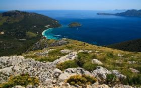 Обои горизонт, море, лагуна, скала, яхты, бухта, синева