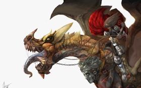 Обои язык, фантастика, дракон, наездник, art