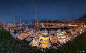 Обои panorama, night, yacht, monaco, port, monte carlo, hercule