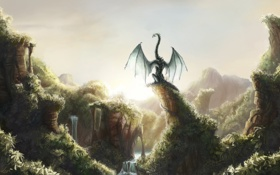Картинка зелень, скалы, дракон, арт, водопады