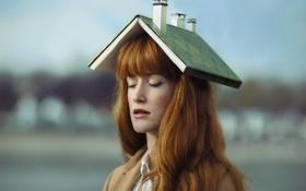 Картинка девушка, дом, книга
