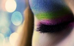 Картинка макро, лицо, глаз, ресницы, макияж, тени, разноцветные