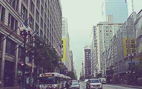 Обои город, улица, небоскребы, Чикаго, автобус, Иллиноис