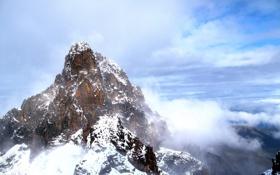 Обои небо, облака, снег, пейзаж, горы, природа, высота