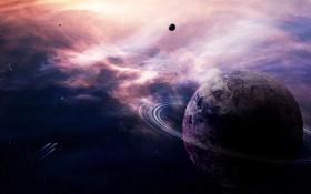 Обои туманность, планета, кольца