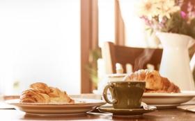 Обои breakfast, sunday, espresso, croissant