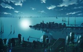Обои город, озеро, будущее, Welcome to the Space Show