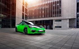 Обои зеленая, Porsche, 911, порше, каррера, купе, TechArt